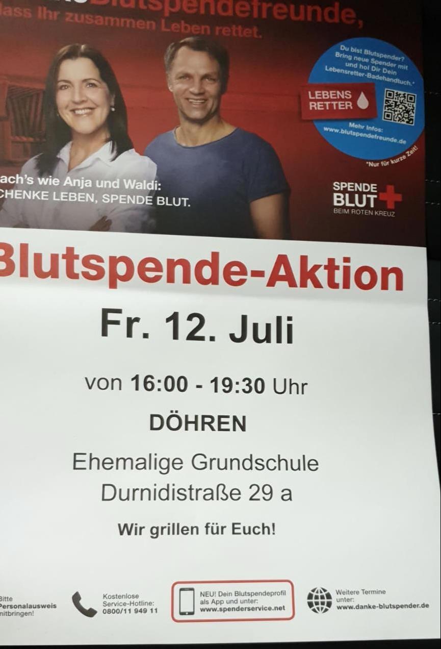 Heute: Blutspende in Döhren