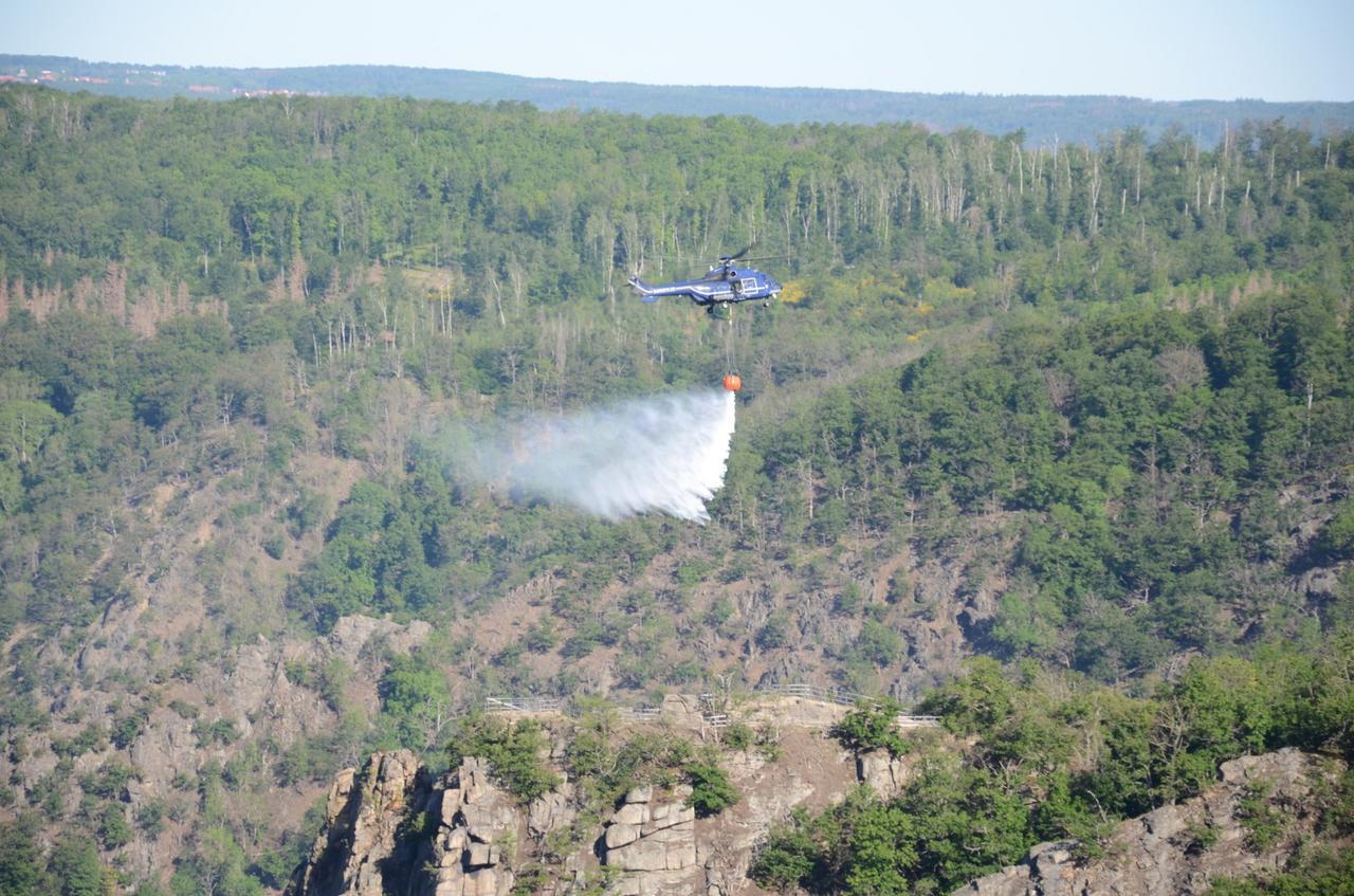 Großer Flächenbrand wütet im Bodetal