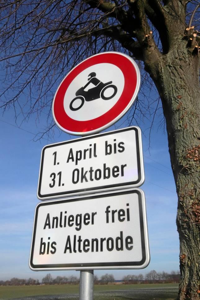 Sperrung für Motorräder unrechtmäßig