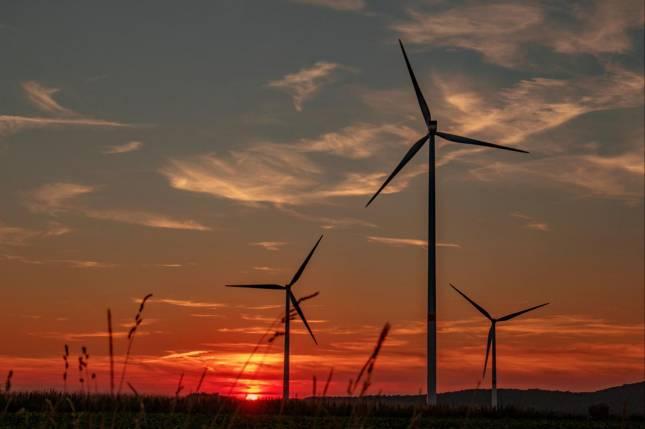 Farbenfrohes Leuchten über dem Windpark